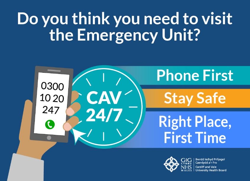 Do you think you need to visit the emergency unit?  Phone First, stay safe, right place, right time.  0300 10 20 247